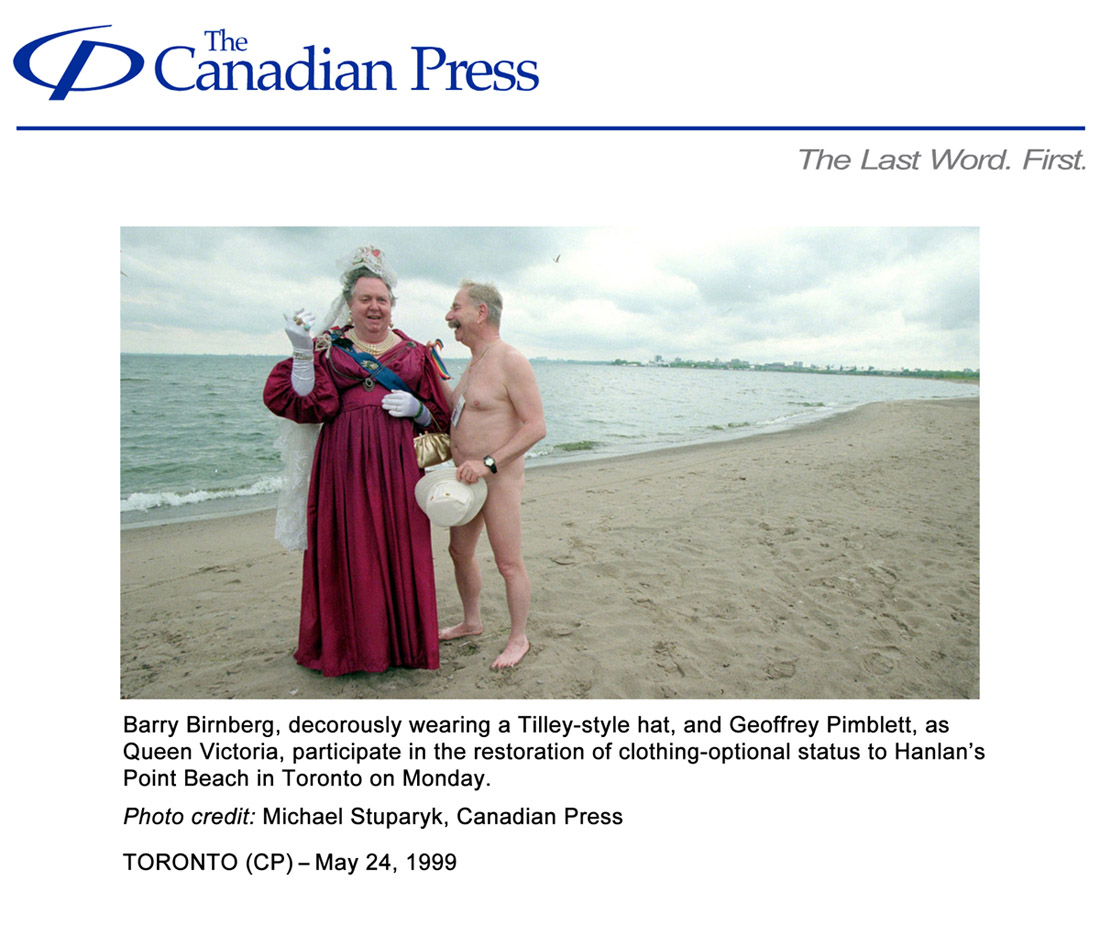 Canadian Press 1999-05-24 - (photo) Official Clothing-Optional Zone at Hanlan's Point Beach opens